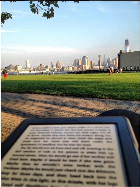 Reading on Pier A in Hoboken